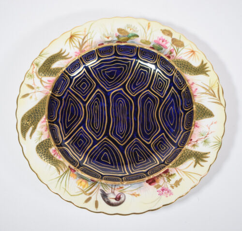 Artist Signed Brownfield Moore Brothers Aesthetic Movement H.P. Turtle Soup Bowl