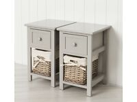 Pair of Small Bedside Tables - brand new - grey, solid mdf, wicker basket and drawer storage.