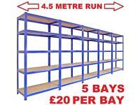 5 BAYS OF HEAVY DUTY STRONG STEEL BOLTLESS SHELF RACKING £20 PER BAY MAKES 4.5 mtr RUN