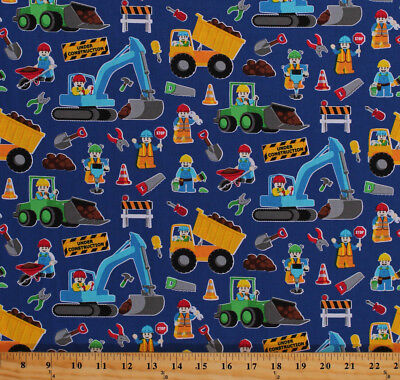 Cotton Legos Construction Workers Vehicles Dump Trucks Fabric Print BTY D666.04