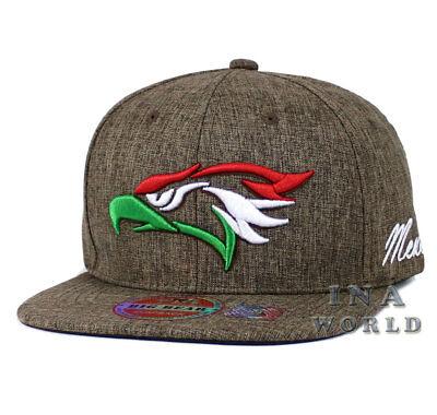 Mexican hat Hecho En Mexico Eagle Twill Snapback Flat bill Baseball cap- Brown