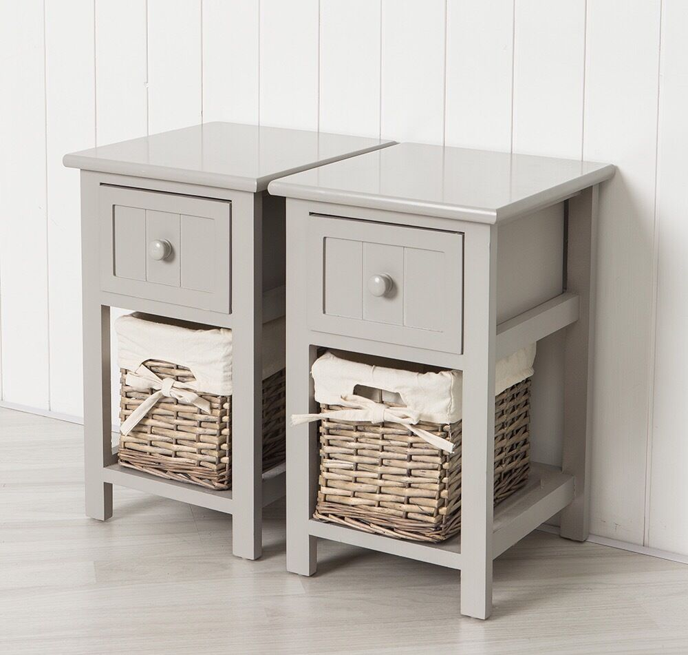 Beau Pair Of Small Bedside Tables   Brand New   Grey, Solid Mdf, Wicker Basket