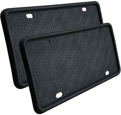License Plate Frames,Silicone,Weather-Proof.with 9 Drainage Holes(Black-2 (Proof Frames)