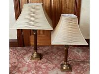 Vintage Brass & Wood Corinthian Column Lamps with Knife-Pleat Lampshades
