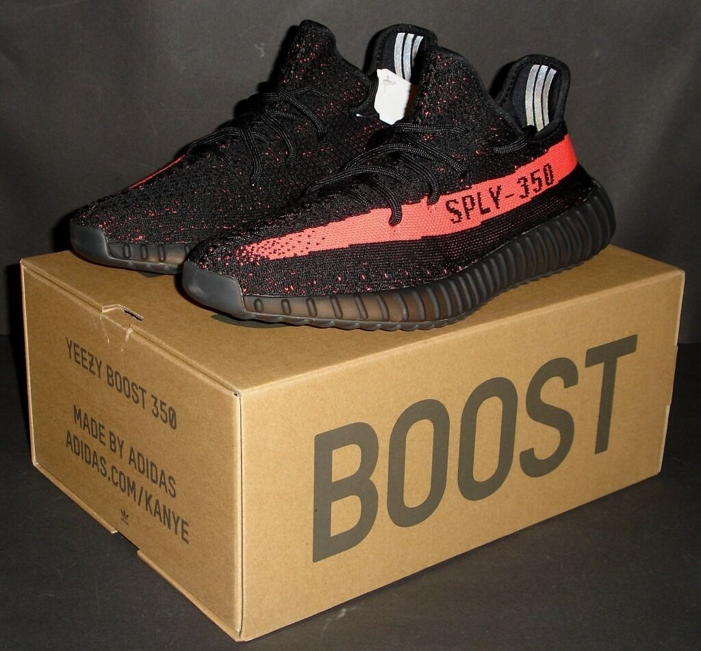 Adidas Yeezy Boost 350 V2 BLACKRED UK 8 EU 42 US 8.5 Kanye West NEW 100% Genuine Authenticin Bradford, West YorkshireGumtree - ADIDAS YEEZY BOOST 350 V2 SIZE UK 8 / US 8.5 / EU 42 CORE BLACK / RED / CORE BLACK BRAND NEW IN BOX 100% AUTHENTIC PRODUCT ID BY9612 For sale is a 100% genuine pair of Dead Stock Adidas Yeezy Boost 350 V2 trainers in Core Black ? Red, these were sold...