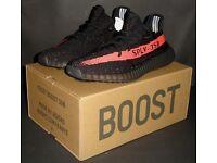 Adidas Yeezy Boost 350 V2 BLACK / RED UK 8 EU 42 US 8.5 Kanye West NEW 100% Genuine Authentic