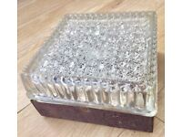 VINTAGE 1970S OUTDOOR INDOOR BULKHEAD LIGHT, THICK INDUSTRIAL FACETED GLASS, SALVAGE RECLAIM