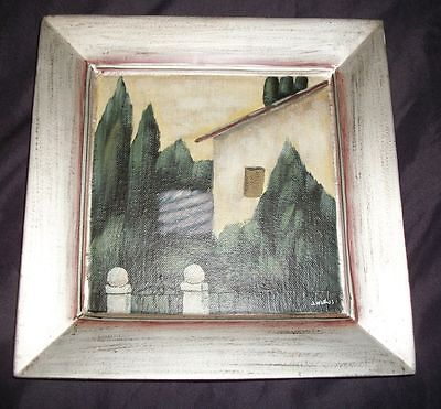"""TamSan Designs Handpainted Ceramic Tray-Signed J Weiss 10""""Sq"""