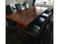 6ft Mahogany Dining Table and 6 Black Leather Chairs