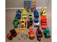 14 Bob the Builder Friction Toys - 2 Bob & a Spud figurine PLUS a Bob book which folds out as a road