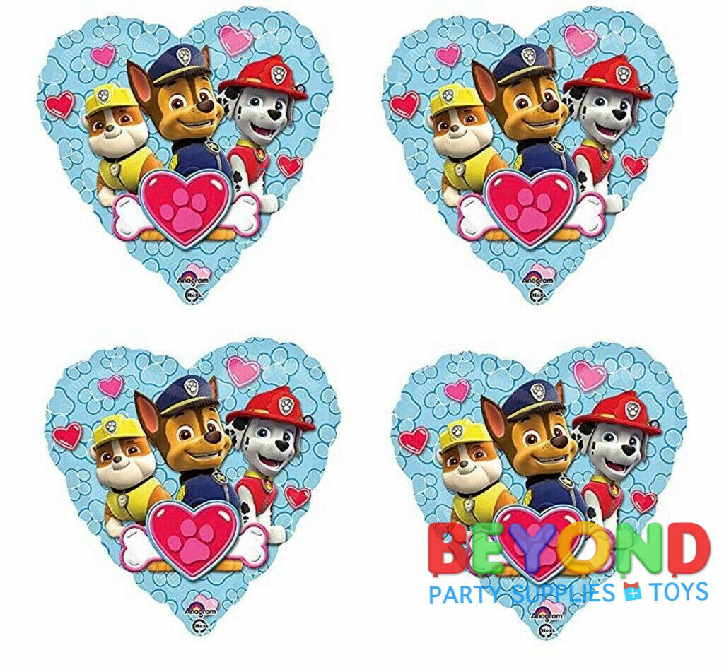 "Paw Patrol Heart Happy Birthday Party Mylar Foil Balloon 18"""