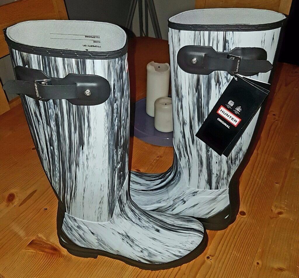 bbd93c770 New Hunter Nightfall Wellington Boots – White/Black - Size 8 - Festival -  RRP £130