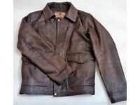 New INDIANA JONES distressed brown leather jacket XL