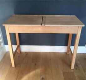 Ikea desk glasholm world map tempered glass in hornsey london up cycled vintage beech school desk gumiabroncs Gallery