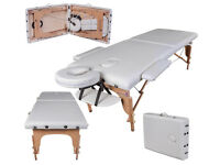 new FoxHunter Portable Folding Massage Table Beauty Salon Tattoo Therapy Couch Bed 2 section