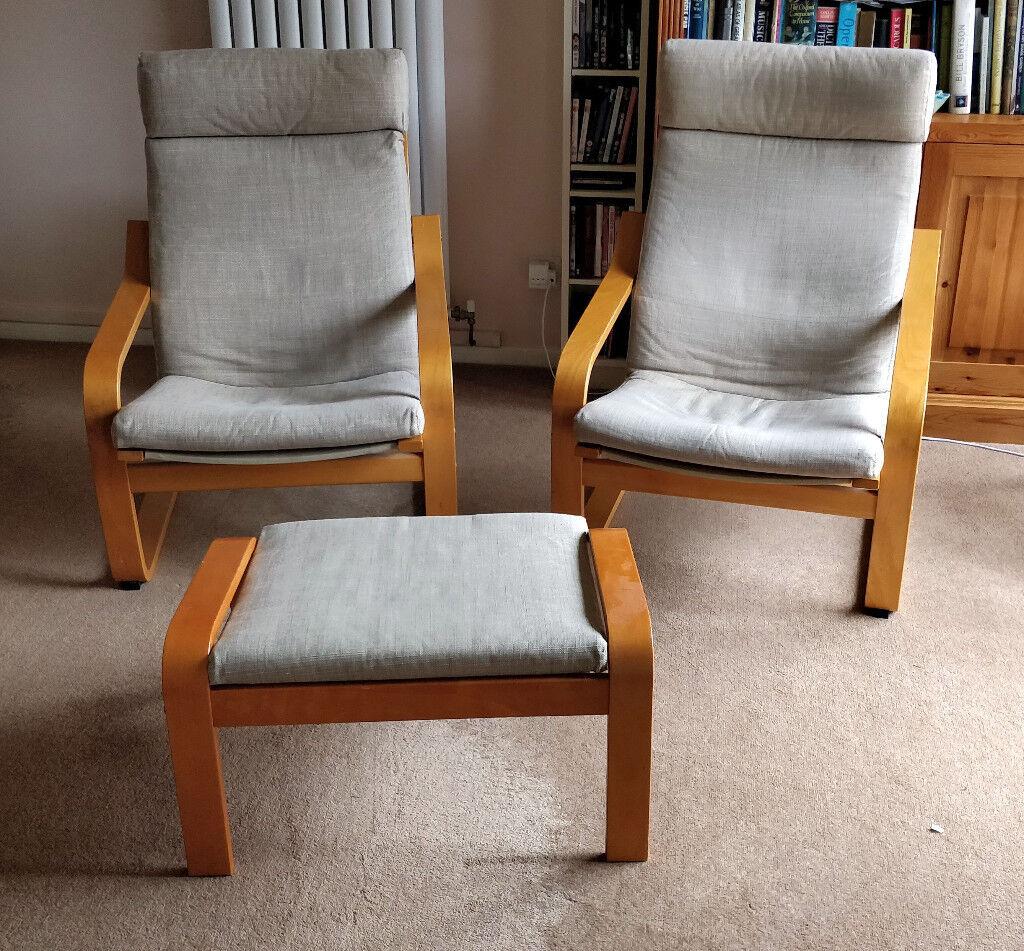 2 Ikea Poang Chairs & Footstool