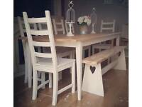 Beautiful solid oak shabby chic table 6 chairs and reclaimed pine bench can deliver
