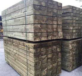 "🌳Tanalised Wooden 8""X 4""X 8Ft Sleepers •New•"