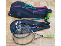 Prince Vintage Tennis Bag + 2 Racquets + Dunlop Ball Set - Slazenger & Prince Racket & Holdall