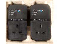 2 x BT Broadband Extender Flex 500 Passthrough Powerline Adapters