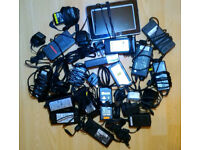 JOB LOT 5V 12V +laptop chargers. selling due to relocation. over 20 in total + picture frame