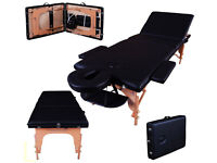 Lightweight Professional Black 3-Section Portable Massage Table