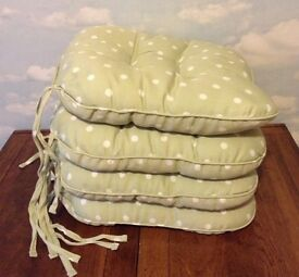 4 Mint Green Polka Dot Padded Seat Cushions with Ties