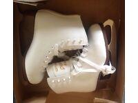 Size 37 ladies girls white figure skates boxed, worn just a few times