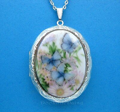 Porcelain BLUE BUTTERFLY & FLOWERS CAMEO Costume Jewelry Locket Pendant Necklace