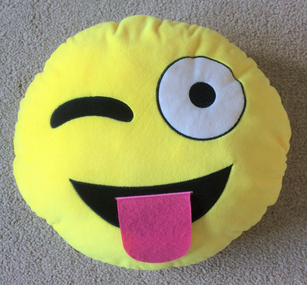 Round Emoji cushion - winking face with sticking out tongue | in  Cambuslang, Glasgow | Gumtree