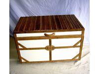 DINING / LIVING / SHABBY CHIC LARGE BESPOKE HAND MADE TRUNK OTTERMAN CHEST IN COTTAGE CREAM