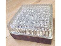 1970s ORIGINAL GLASS LIGHT FITTING, HEAVY CUT GLASS, DIFFUSED LIGHT, RETRO MID CENTURY SCONCE