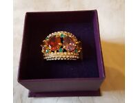 FABULOUS Statement multicoloured crystal dress ring - BRAND NEW BOXED
