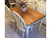 Shabby chic pine farmhouse style table and 4 chairs refurbished
