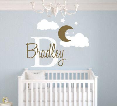 Custom Name & Initial Moon & Clouds - Nursery Wall Decal For Baby Girl/Boy Room