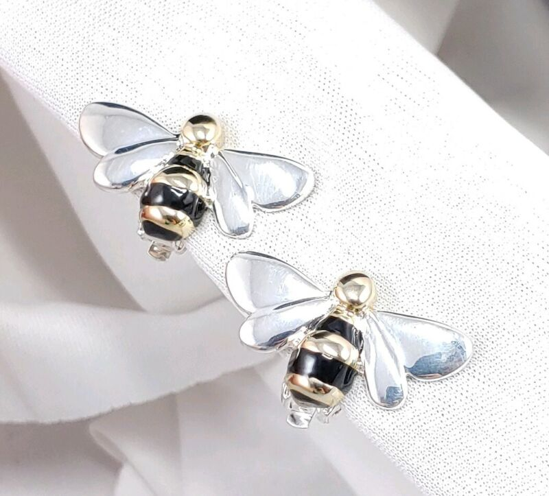 (W) Bumble Honey Bee Insect Bug Enamel Silver Plated Gold Tone Clip On Earrings