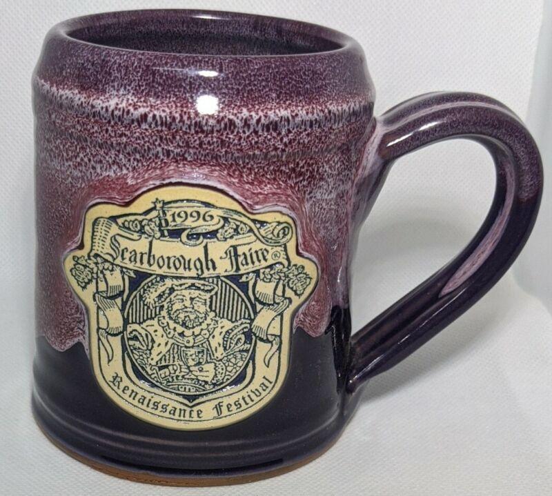 Daneen Pottery Mug Handmade Scarborough Renaissance Faire 1996 Two Tone Purple