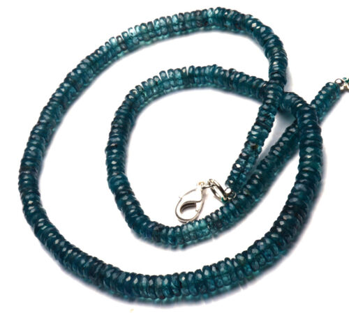 """NATURAL GEM IMPERIAL KYANITE GREEN COLOR 5-6MM FACETED HEISHI BEADS NECKLACE 18"""""""