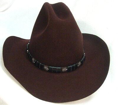 Mens Cowboy Western Old Wild West World Brown Wool Felt style hat M - XL New (Old Western Cowboy)