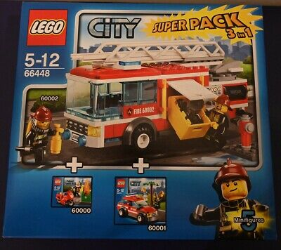 LEGO City Fire 66448-City SUPER PACK 3 in 1 (60000, 60001, 60002) NUOVO e RARO!
