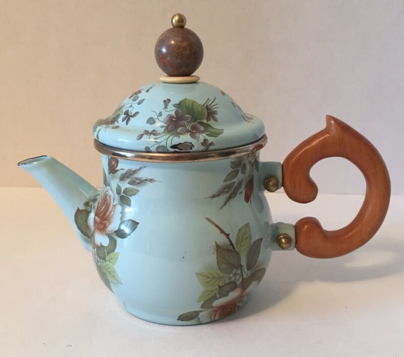 Vintage MACKENZIE CHILDS Rare 1983 Camp Teapot Green Rose Wooden Handle Floral