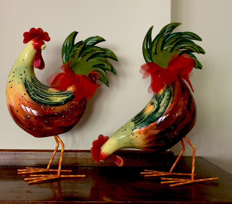 """2 - Rooster Figural Bobble Rocking Roosters Red Yellow Green Hand painted 12.5"""""""