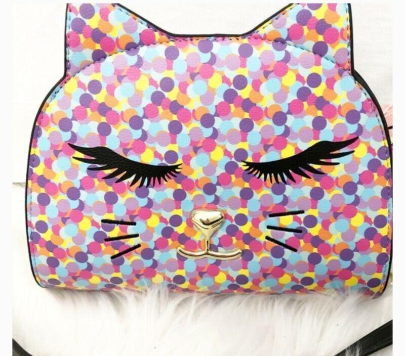 Betsey Johnson  Luv Confetti Cat Face Crossbody Shoulder Bag Purse NEW