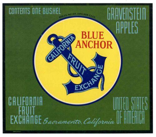 BLUE ANCHOR Brand, Gravenstein **AN ORIGINAL APPLE FRUIT CRATE LABEL** 016