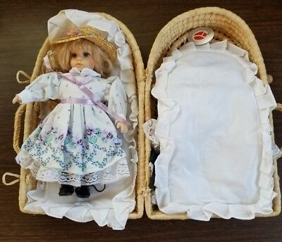 "DENTON PRODUCT CORO, COLLECTIBLES, 11""  DOLL, STRAW BASKET, 4 OUTFITS"