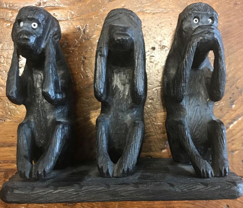 Hear, See Speak No Evil Wood Carved MONKEYS (#46-30)