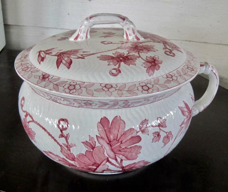 Ridgways Stoke on Trent Chester Red/Maroon Floral Transfer Ware Chamber Pot/ Lid