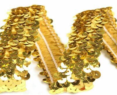 Sonderangebot 50 cm Paillettenborte gold 20 mm elastisch Karneval Kostüm Deko