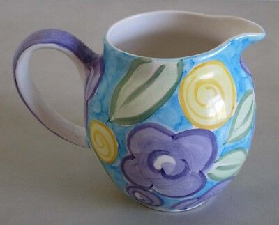 """Pottery Ceramic China Pitcher Ornate Floral Hand Painted 7"""" Height"""