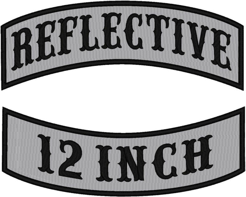 CUSTOM EMBROIDERED  REFLECTIVE ROCKER PATCH 12 INCH STRAIGHT EDGE THICK BORDER